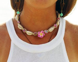 plumeria hemp necklace
