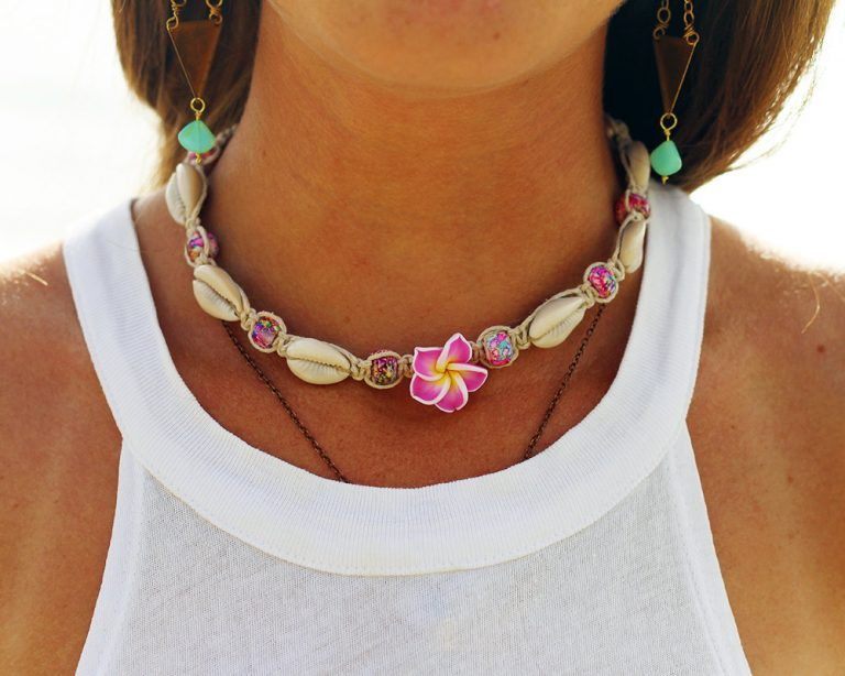 plumeria hemp necklace
