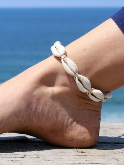cowrie shell hemp anklet
