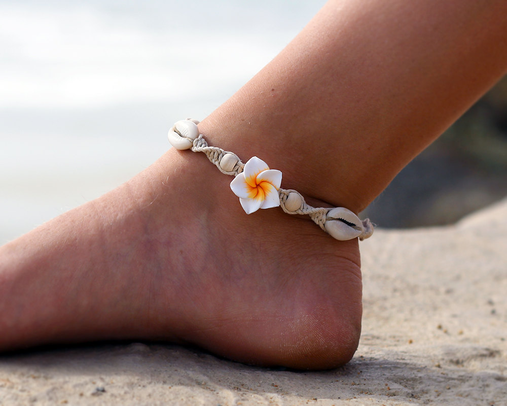 tricolor yellow hawaiian d rhodium products rope silver rose plumeria anklet gold