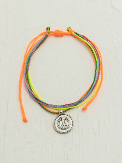 Waxed Cord Anklet, Peace Sign, Made To Order