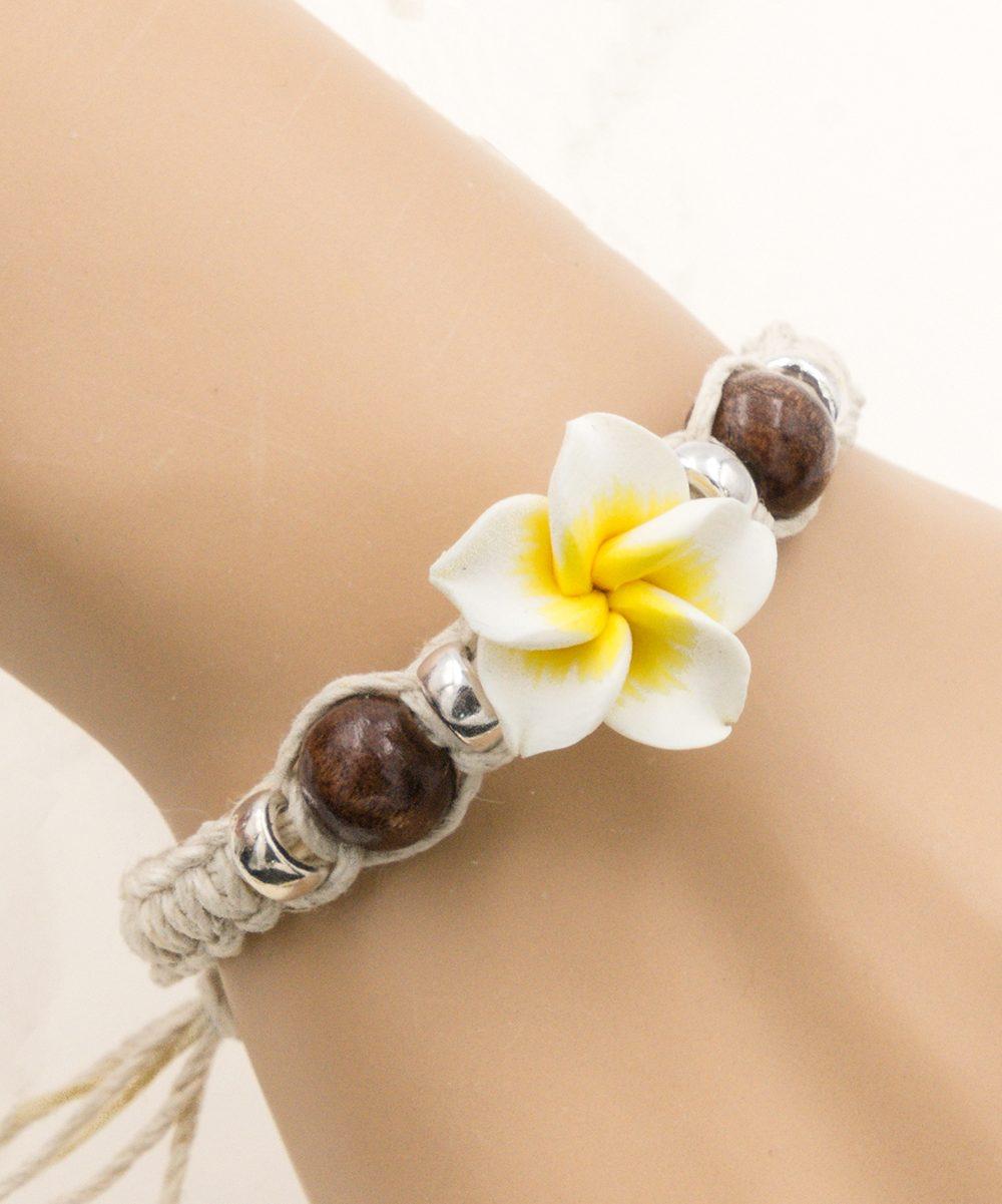 plumeria flower bracelet
