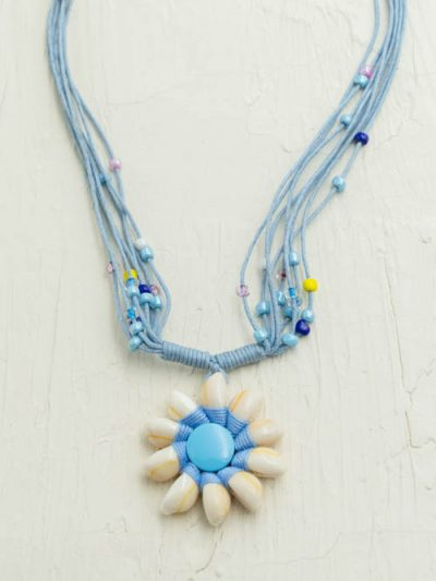 Beaded Cowrie Shell Necklace, Blue