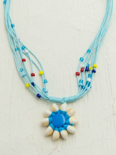 Cowrie Shell Necklace, Turquoise