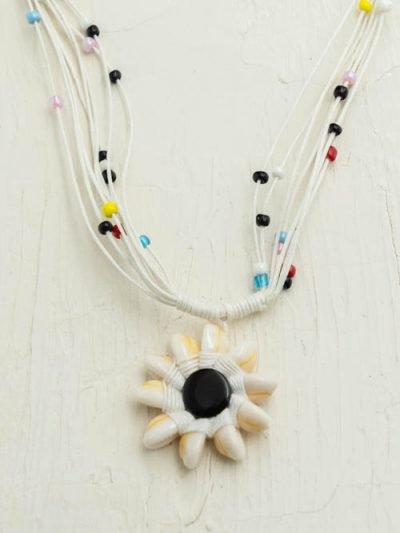 Beaded Cowrie Shell Necklace, black