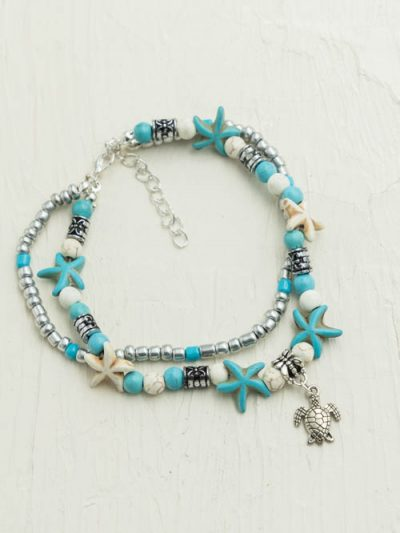 Turquoise Turtle Anklet, One Size