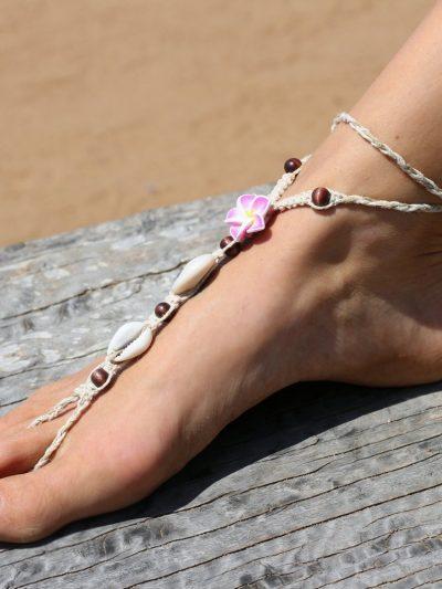 Hemp Flower Barefoot Sandals, Made To Order