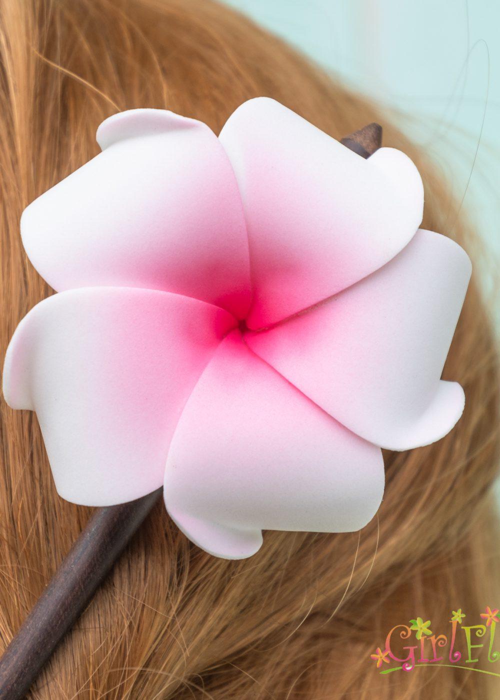 plumeria wood hair stick