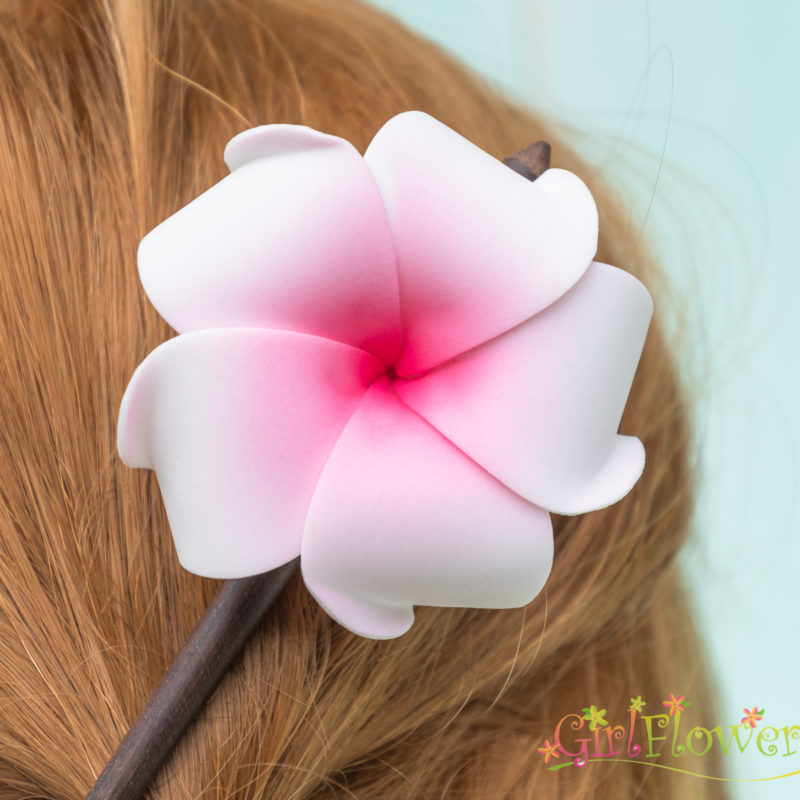 plumeria wood hair stick