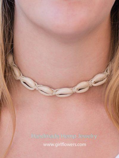 hemp Jewelry, hemp choker with shells