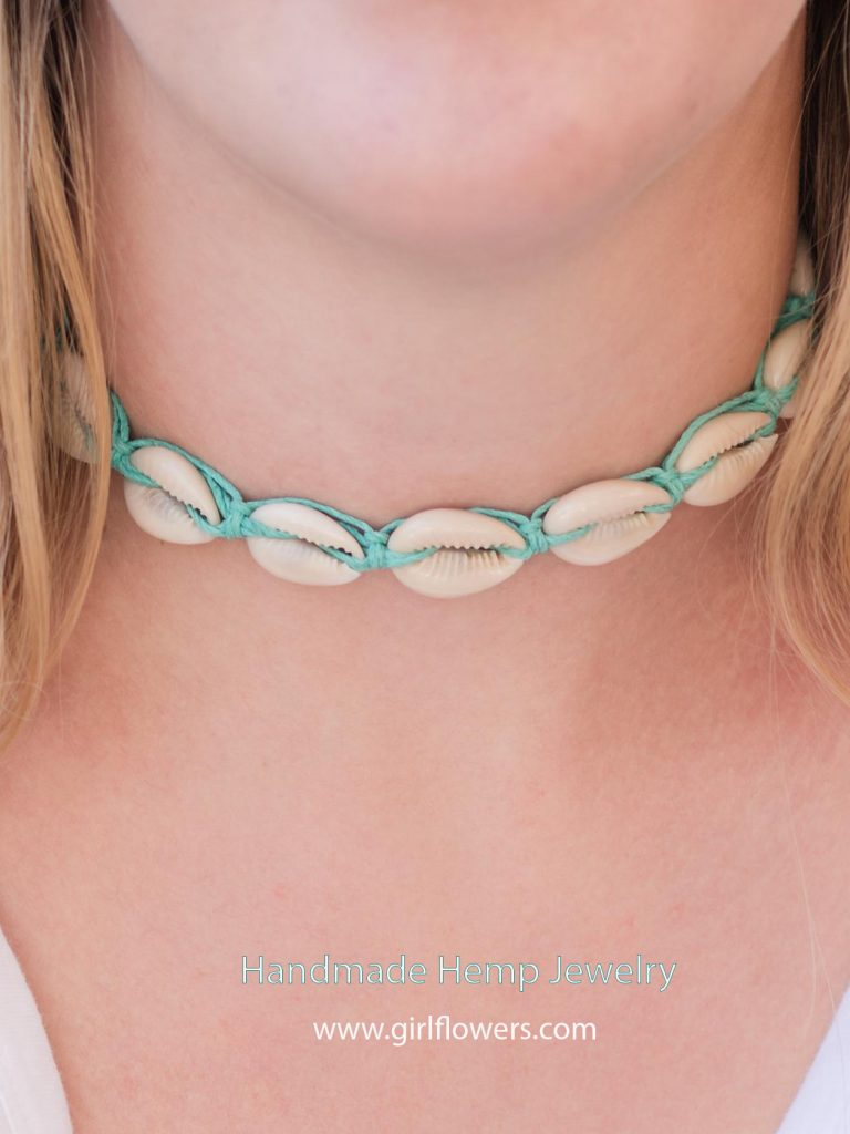 teal hemp necklace with shells