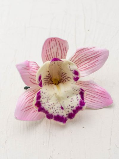 pink orchid flower hair clip