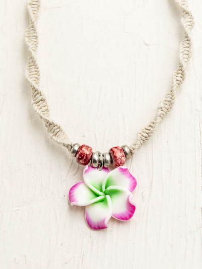 plumeria necklace, Hawaii jewelry, hemp necklace