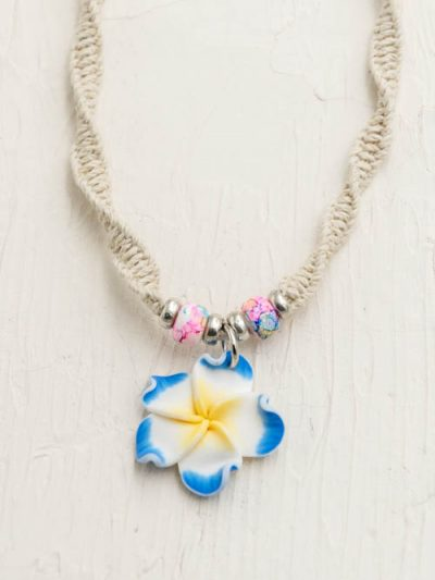 hemp flower necklace, girls surf jewelry, beach chokers