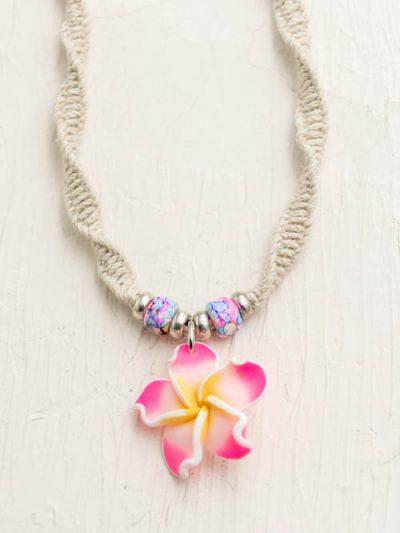 pink plumeria necklace, Hawaii jewelry, hemp necklace