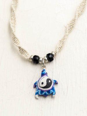 ying yang turtle hemp necklace