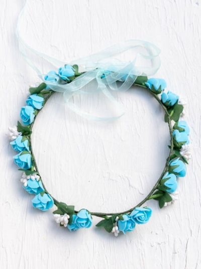 blue rose flower hair crown