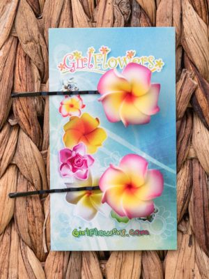 plumeria foam flower bobby pins